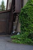 Facades and details of a vintage backyard. In south germany historical city Stock Photography