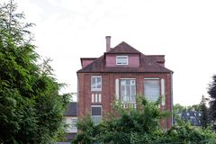 Facades and details of a vintage backyard. In south germany historical city Stock Image