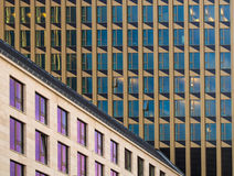Facades of dynamic business buildings in  Frankfurt, Germany Royalty Free Stock Image