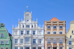 Facades of hanseatic buildings in the city Rostock, Germany Stock Photo
