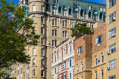 Facades of high-rise buildings on Central Park West. Upper West Side, New York City Royalty Free Stock Photos