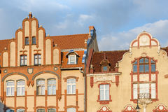 Facades of historic buildings in Lidzbark Warminski Royalty Free Stock Images