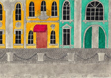 Facades of historic buildings. Watercolor and pencil drawing. Stock Image
