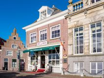 Facades of historic houses in old city centre of Enkhuizen, Neth Royalty Free Stock Images