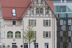 Facades in historical city. In a south german historical city facades with its detailed ornaments and figures describe fascinating romantic view at the time form Royalty Free Stock Photography
