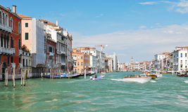 Facades of houses along venetian grand canal, Stock Image
