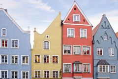 Facades of houses in Landsberg am Lech. Royalty Free Stock Photo