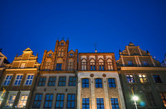 Facades of houses in the Old Market Square at night Stock Image
