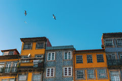 Facades of the houses in old part of Porto Stock Photography