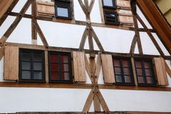 Facades of houses in the old style. Tudor style house. Facades of houses in the old style stock photos