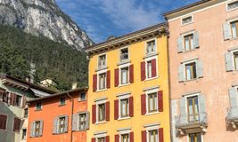 Facades of houses in Riva. Colorful facades of houses in Riva on Lake Garda in Italy stock photos