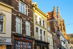 Facades of houses with shops in the  Dutch city  Den Bosch Stock Photography