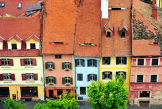 Facades of houses of Sibiu city centre Royalty Free Stock Images
