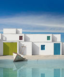 Facades of houses with white wall Stock Images