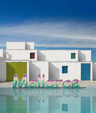 Facades of houses with white wall Stock Image