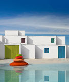 Facades of houses with white wall Royalty Free Stock Photo