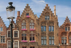 Facades. Jan Van Eyck Square. Bruges. Belgium Royalty Free Stock Photo