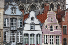 Facades of medieval houses in Mechelen Stock Image