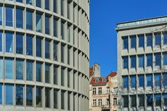 Facades of modernist office buildings. In Poznan royalty free stock photos