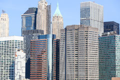 Facades of NYC. The facades of several Skyscrapers in Downtown Manhattan in New York City Stock Image