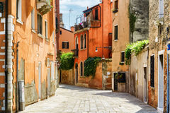 Facades of old houses on Calle Gradisca Cannaregio. Venice Royalty Free Stock Photo