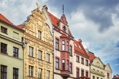 Facades of old houses in Torun old town, Poland.  Royalty Free Stock Photos