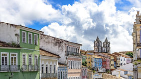 Facades. Of the old houses and townhouses and towers of historic churches in Pelourinho neighborhood in Salvador, Bahia Royalty Free Stock Photography