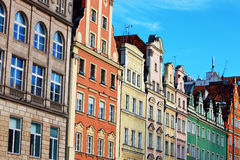 Facades of old houses in Wroclaw, Poland Royalty Free Stock Photos