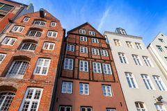 Old living houses in Altstadt, Hamburg. Facades of old living houses in Altstadt, Hamburg old town, Germany stock photography