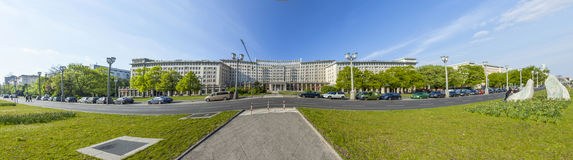 Facades of old socialist GDR era apartment buildings on Karl Mar Stock Photo