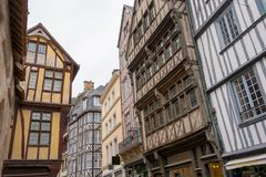 Facades of an old street of Rouen, France. Facades of an old street of Rouen in France Stock Photo