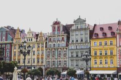 The facades of the old vintage houses, tilt shift effect royalty free stock photos