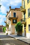 Facades of Old Yellow Houses in Verona,Italy Royalty Free Stock Images