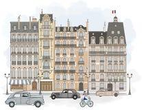 facades paris royaltyfri illustrationer