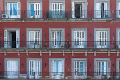 Facades in Plaza Mayor. Madrid,Spain. Historical building on the Plaza Mayor in Madrid, Spain royalty free stock photo