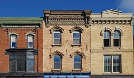 Facades of preserved 19th century commercial buildings. Of the type found in some older North American small town main streets royalty free stock image