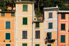Facades on the promenade of Portofino. Facade of colored houses on the promenade of Portofino Royalty Free Stock Photography