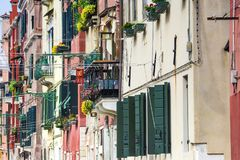 Facades of residential buildings Venice, Italy. Stock Images
