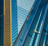 Facades of skyscrapers in the exhibition site in Frankfurt, Germany Stock Photos