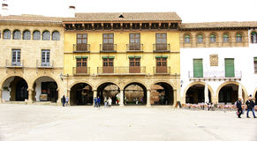 Facades in the square of the Spanish Pueblo of Montjuic Stock Images