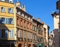 Facades in a street of Toulouse. France Royalty Free Stock Photos