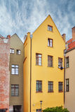 Facades of tenement houses in Torun old town, Poland royalty free stock photos