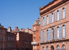Facades of Toulouse. St. Etienne square in Toulouse, France Royalty Free Stock Image