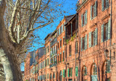 Facades of Toulouse. View on facades of Toulouse in France Stock Photos