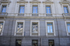 Facades of typical architecture of the capital of Spain, Madrid Royalty Free Stock Photo