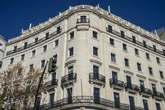 Facades of typical architecture of the capital of Spain, Madrid Royalty Free Stock Photos