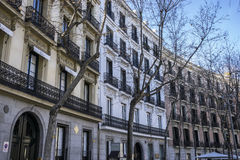 Facades of typical architecture of the capital of Spain, Madrid Royalty Free Stock Image