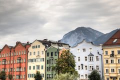 Facades of typical houses in Innsbruck, Austria Stock Photography
