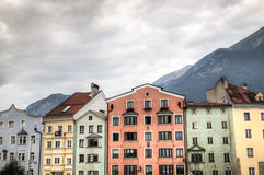 Facades of typical houses in Innsbruck, Austria. Facades of houses in the typical Austrian building style in Innsbruck, Austria Royalty Free Stock Image