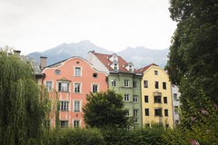 Facades of typical houses in Innsbruck, Austria. Facades of houses in the typical Austrian building style in Innsbruck, Austria Stock Photography